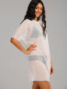 d8f147b69c343 28% OFF] 2019 See Thru Mesh Sheer Cover Up Dress In WHITE | ZAFUL