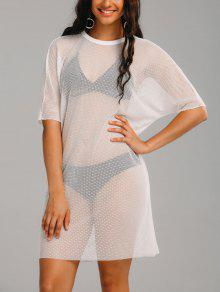 See Thru Mesh Sheer Cover Up Dress - White 2xl