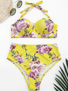 Underwire Floral Halter High Waisted Bikini - Yellow S