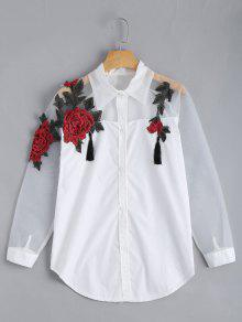 Embroidered Rose Applique Organza Panel BF Shirt - White Xl