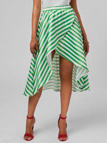 High Low Stripe Skirt - Mint Xl