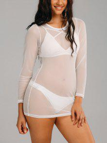 Robe Cover Up En Maille Transparente à Manches Longues - Blanc 2xl