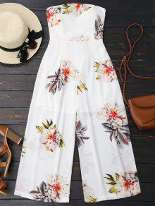 Floral Print Padded Bandeau Cropped Jumpsuit - White L