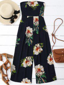 Floral Print Padded Bandeau Cropped Jumpsuit - Purplish Blue L