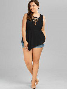 8e2b834d5dfca 61% OFF  2019 V Neck Crisscross Asymmetrical Plus Size Top In BLACK ...