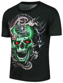 Dragon Negro Xl Estampada Skull 3D De Camiseta Manga Corta 1nAqqwfdx