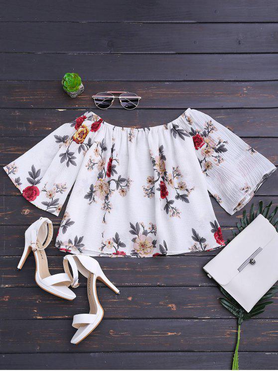 Top de hombro floral suelto - Blanco L