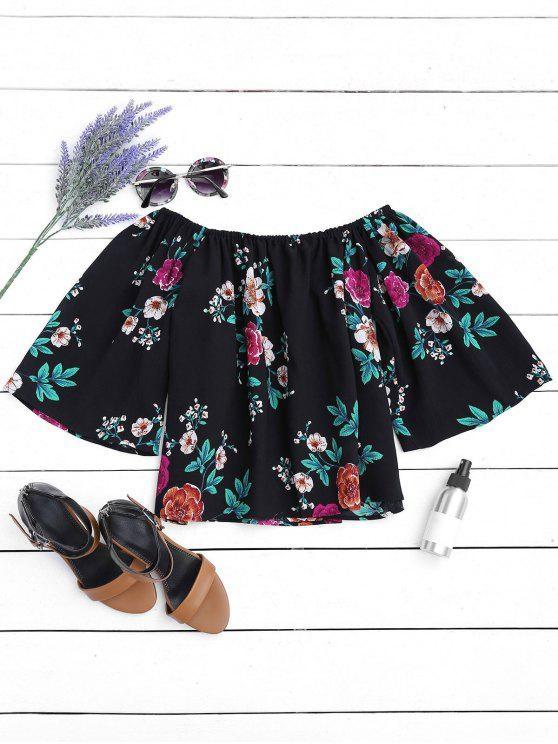 Top de hombro floral suelto - Negro S