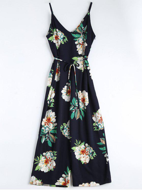 women's Floral Print Belted Cami Jumpsuit - PURPLISH BLUE L