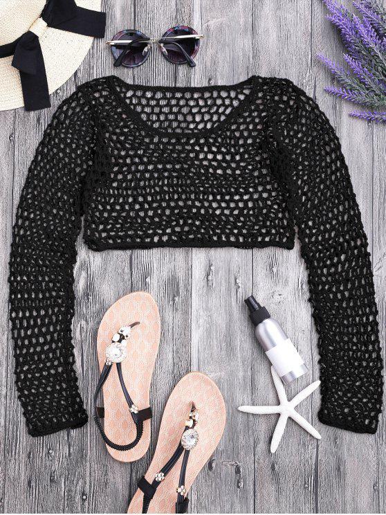shop Crochet Fishnet Beach Cover Up Crop Top - BLACK M