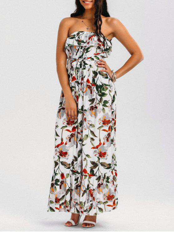 trendy Belted Floral Ruffles Tube Maxi Dress - WHITE XL