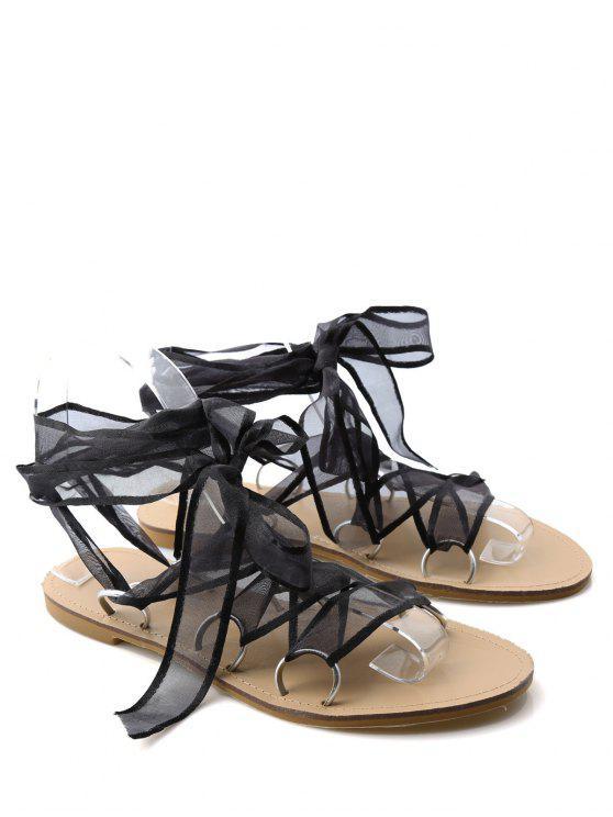 chic Metal Ring Flat Heel Tie Up Sandals - BLACK 38