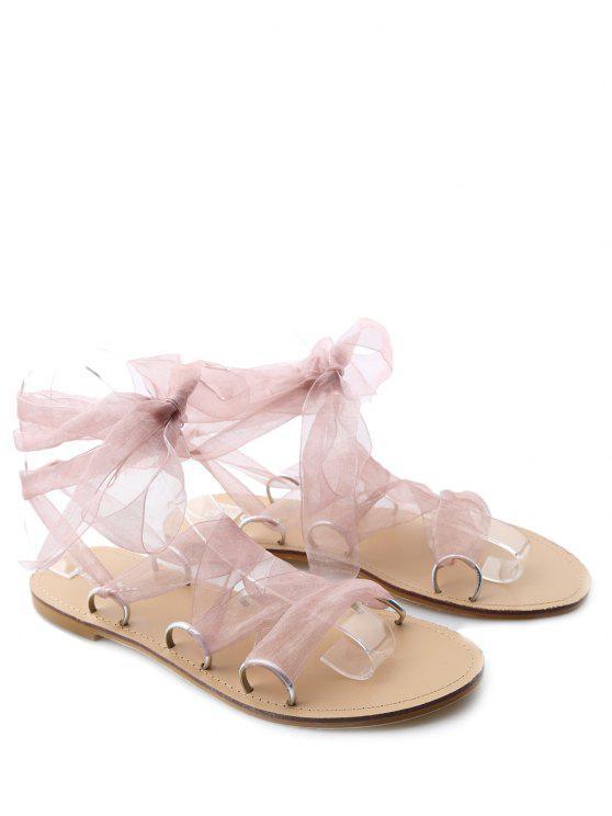 womens Metal Ring Flat Heel Tie Up Sandals - PINK 38