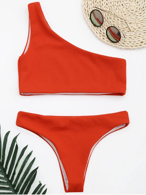 ladies Ribbed Texture One Shoulder Bikini - RED S