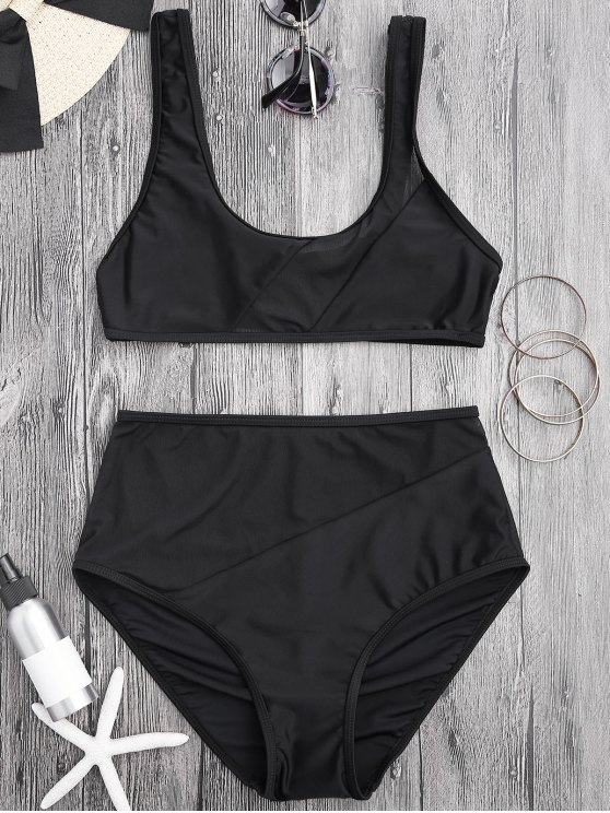 7d6cb17fdf 19% OFF] 2019 Sheer Mesh Insert High Waisted Bikini Set In BLACK | ZAFUL