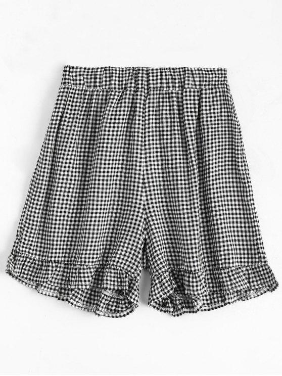 Shorts taille haute motif de carreaux à volants - Carré L