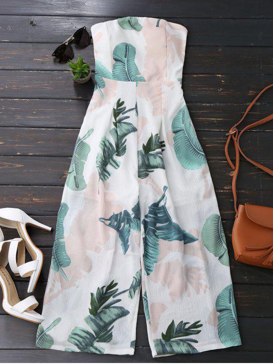 sale Leaves Print Strapless Jumpsuit - WHITE L