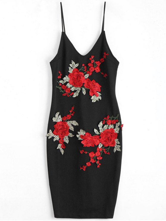 hot Rose Embroidered Patched Slip Bodycon Dress - BLACK M