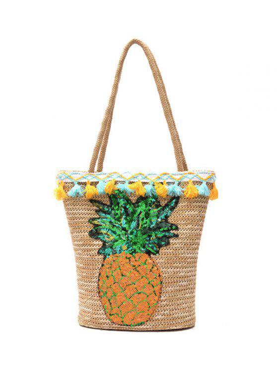 S Tassel And Sequin Pinele Straw Bag Beige