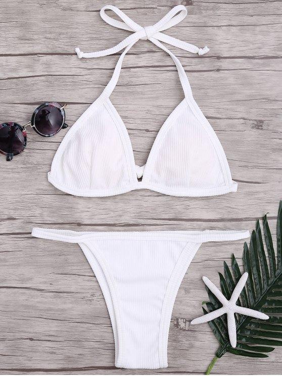 latest Padded Textured String Bikini Set - WHITE S