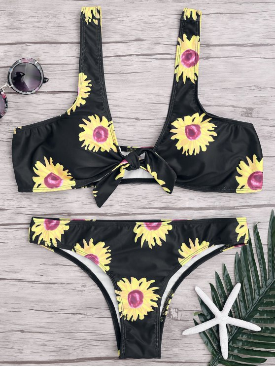 fancy Sunflower Knotted Bikini Top and Bottoms - BLACK L