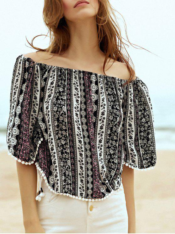 fashion Printed Off the Shoulder Half Sleeve Blouse - BLACK M