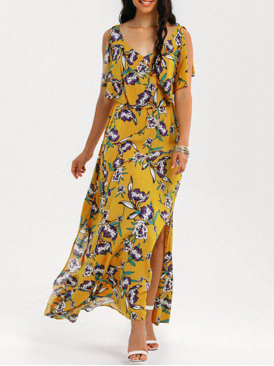 Slit Floral Ruffles Maxi Dress - Amarillo M