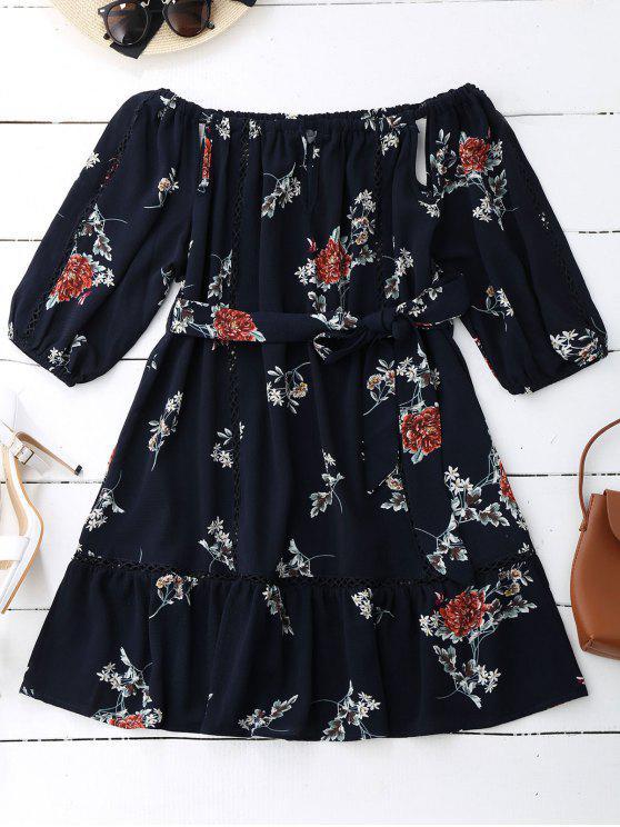 Blumen Druck Ausgeschnitt Gürtel Kleid - Schwarzblau M