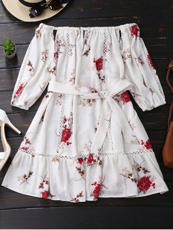 Vestido Manga Longa Ombro a Ombro Floral +Cinto - Branco S