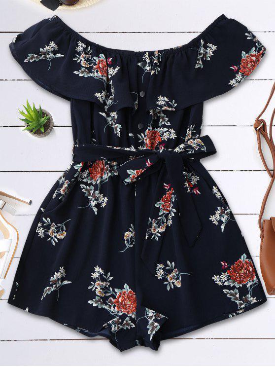 shop Floral Print Flounce Belted Romper - PURPLISH BLUE S