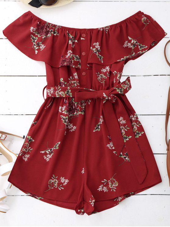 Floral Flounce Belted Breed - Vermelho S