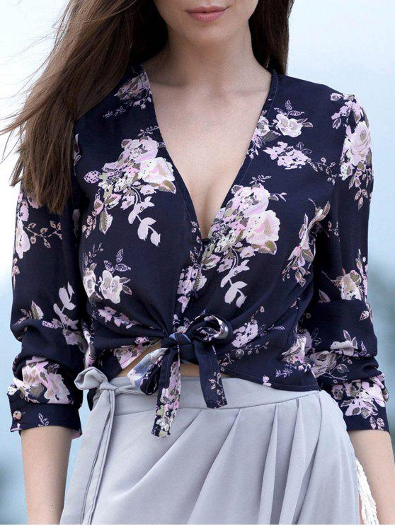 fashion Tied Floral Print Plunging Neck Long Sleeve Blouse - PURPLISH BLUE S