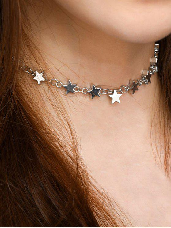 Star Copper Alloy Collarbone Necklace - Prateado