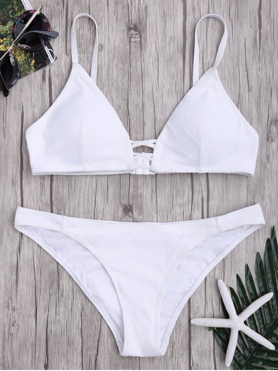 affordable Criss Cross Spaghetti Strap Texture Bikini Set - WHITE S