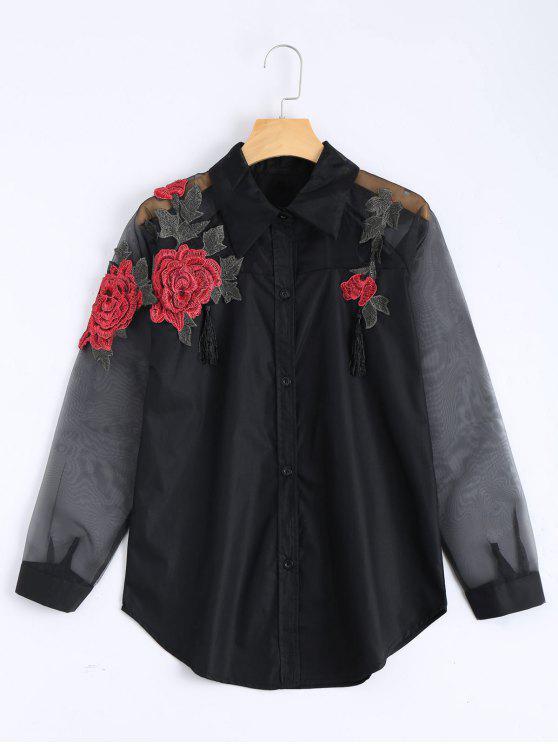 شيرت بوي فريند مطرزة وردة أبريك شفاف حريري لوحة - أسود XL