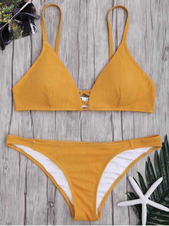 Kreuzgurte Spaghettiträger texturisches Bikini Set - Ingwer-Gelb XL
