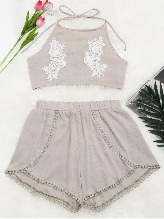 lady Lace Floral Halter Crop Top and Shorts - YELLOWISH PINK L