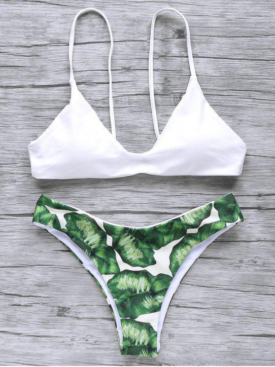 fancy Spaghetti Straps Palm Tree Bikini - WHITE L