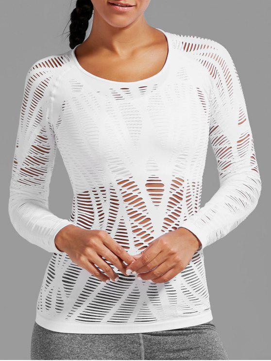 T-shirt à manches courtes à manches longues - Blanc M