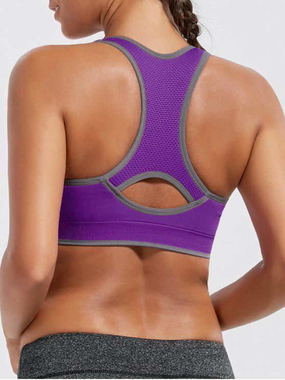 latest Paded Racerback High Impact Sports Bra - PURPLE L