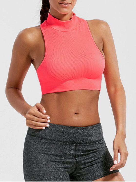 affordable Padded High Neck Crop Sports Bra Top - BRIGHT PINK M