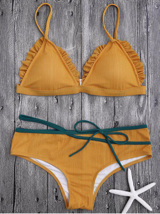 Rüschen Trim Spaghetti Riemchen Bikini Set - Ingwer-Gelb L