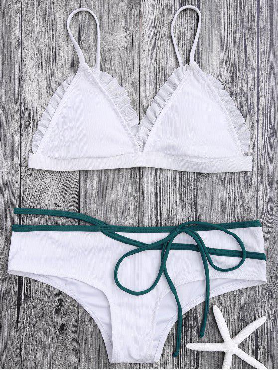 Rüschen Trim Spaghetti Riemchen Bikini Set - Weiß M