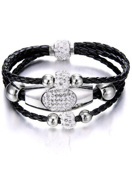 unique Magnet Buckle Layered Rhinestone Beaded Bracelet - BLACK