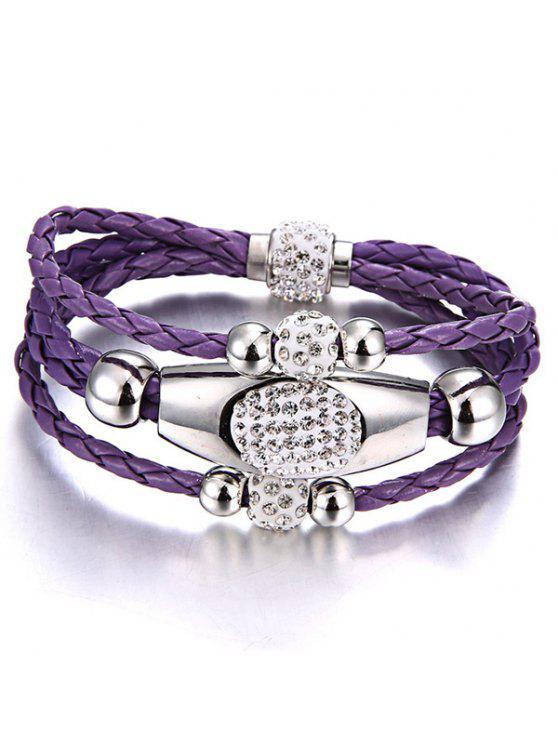 women Magnet Buckle Layered Rhinestone Beaded Bracelet - PURPLE