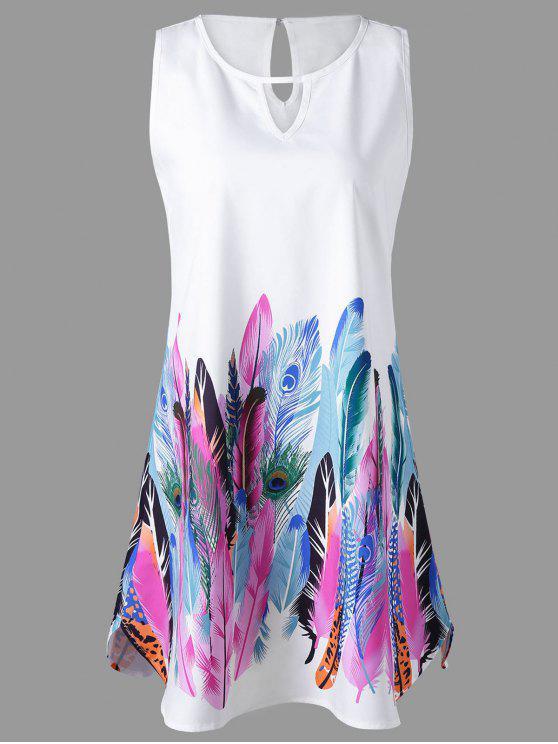 فستان ثقب المفتاح الريشة الرقبة طباعة بلا اكمام - أبيض L