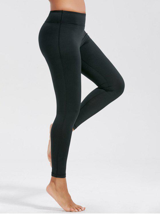 عالية الخصر اللياقة البدنية طماق مع جيوب - أسود XL