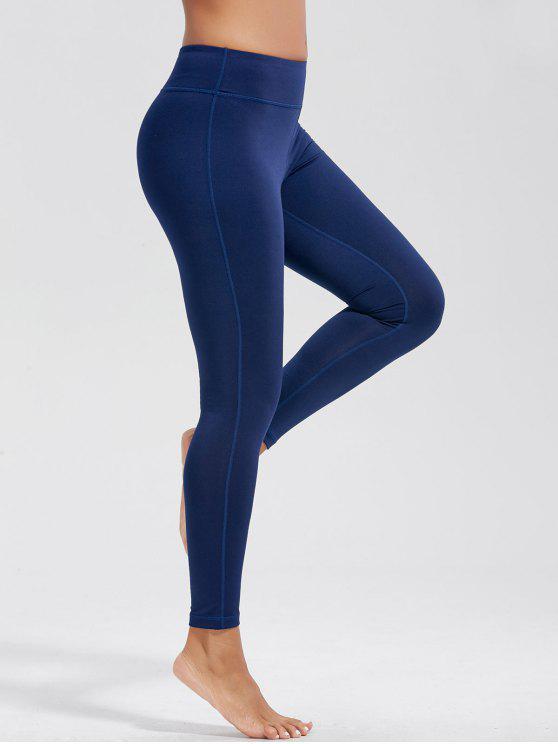 عالية الخصر اللياقة البدنية طماق مع جيوب - ازرق غامق S
