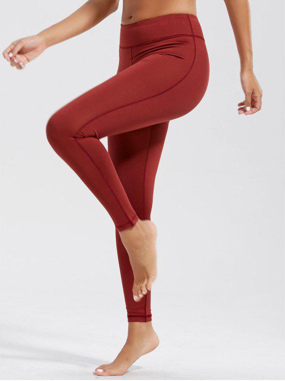 عالية الخصر اللياقة البدنية طماق مع جيوب - قرميد احمر S
