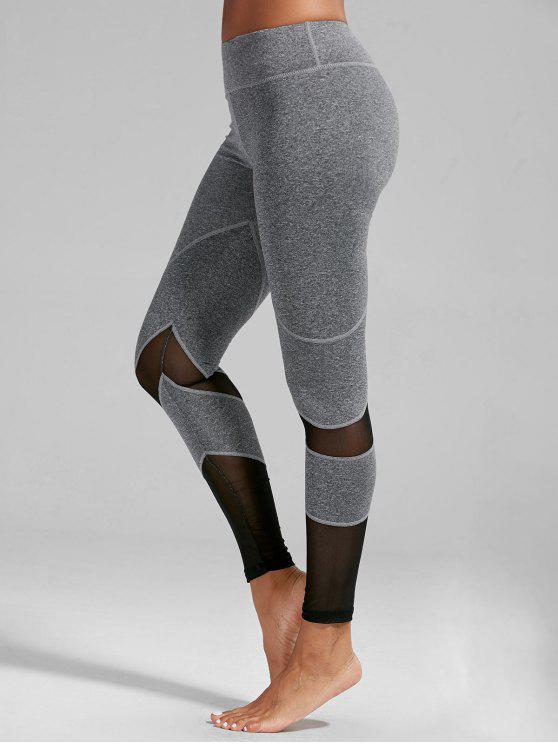 77349dd55f069 2019 High Rise Mesh Insert Fitness Leggings In LIGHT GRAY M | ZAFUL